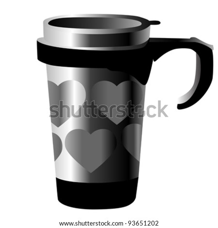 silver metal cup with hearts isolated on white - stock vector
