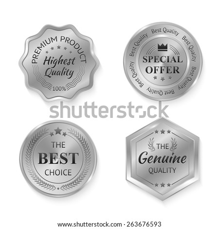 Silver metal genuine quality special offer badges set isolated vector illustration - stock vector