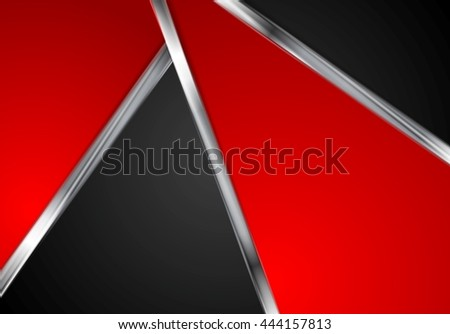 Silver metallic lines, contrast red black tech background. Vector graphic design with metal stripes - stock vector