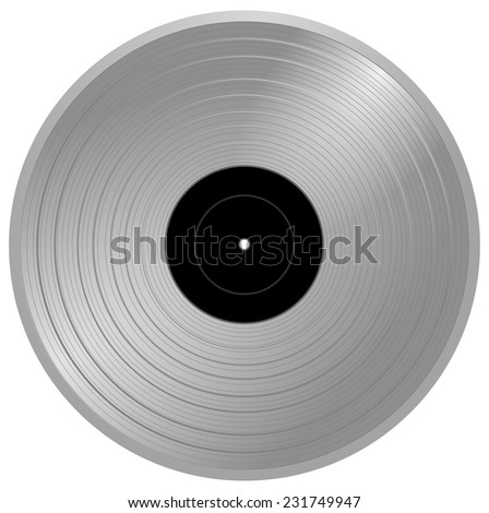 Silver musical gramophone vinyl long play disc with black empty label - music award, golden record, gold LP, vector art image illustration, realistic retro design, eps10, isolated on white background - stock vector