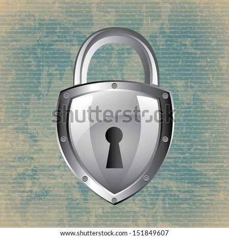 silver padlock isolated over lineal background. vector illustration - stock vector