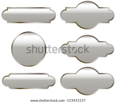 Silver plates with slight copper color - stock vector
