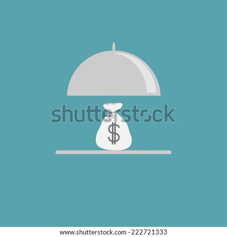 Silver platter cloche and money bag. Flat design style. Vector illustration - stock vector