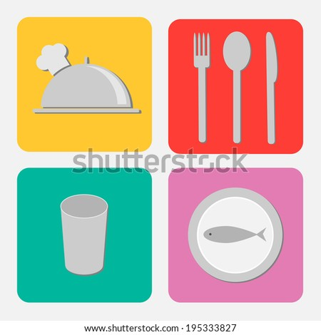 Silver platter cloche, fork, spoon, knife, glass and plate with fish. Flat design icon set. Vector illustration - stock vector