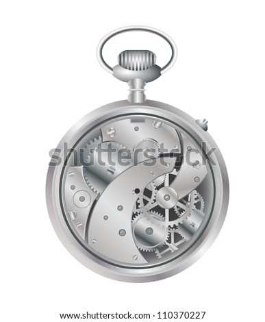 silver pocket watch - mechanical machine vector - stock vector