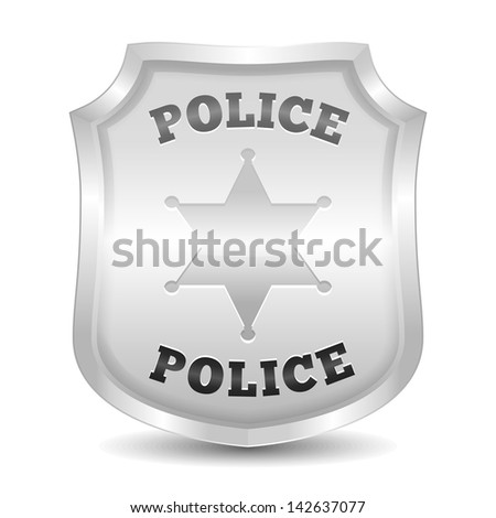 Silver police badge, vector eps10 illustration - stock vector