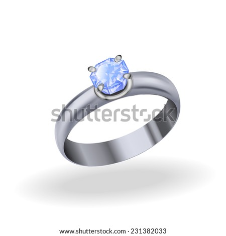 Silver Ring with rose quartz, jewelry white gold with pink stones on a white background - stock vector