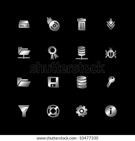 Silver server icons - stock vector