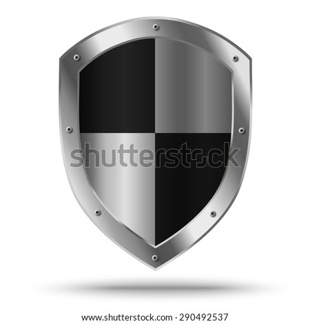 Silver shield with chessboard pattern. Protection or hazard symbol. - stock vector
