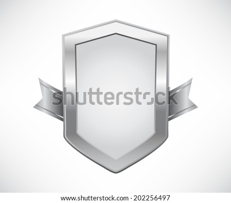 Silver shield with ribbon - stock vector