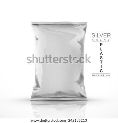 silver snack plastic packaging isolated on white background - stock vector