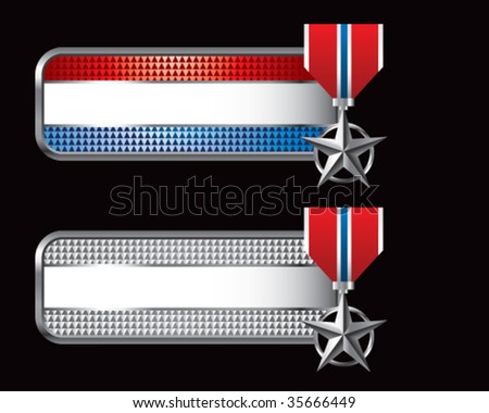 silver star medal on specialized banners - stock vector