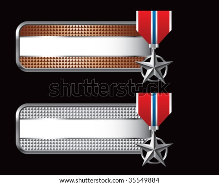 silver star medal on web banners - stock vector