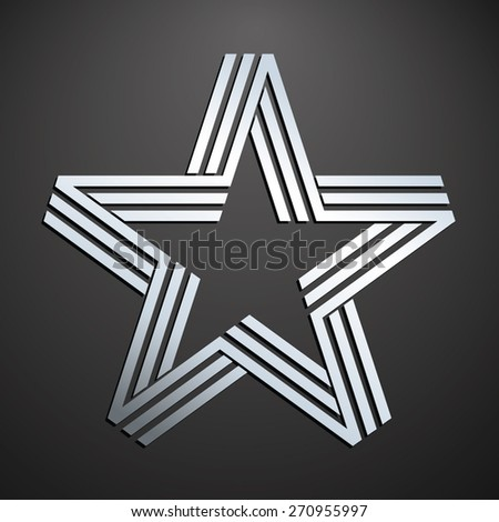 Silver star on dark background - stock vector