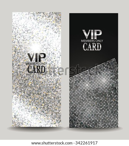 Silver textured vip cards - stock vector