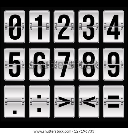 silver timetable numbers on black - stock vector