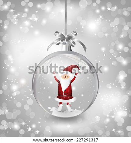 Silver vector illustration background of an empty snowglobe  with Santa Claus - stock vector