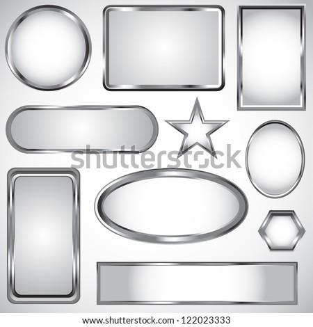 Silver vector label frame EPS 10 - stock vector