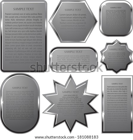 Silver vector label frame EPS 10 - stock vector