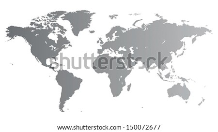 Silver vector map of the World. - stock vector