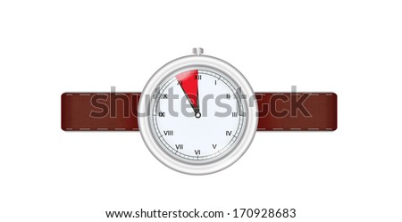 silver watch with highlighted last five minutes before twelve on white background - stock vector