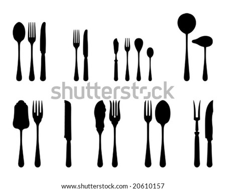 silverware black and white silhouettes (also available in raster format) - stock vector