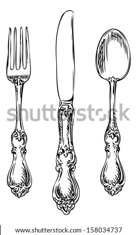 Silverware. Vintage spoon, fork and knife. - stock vector
