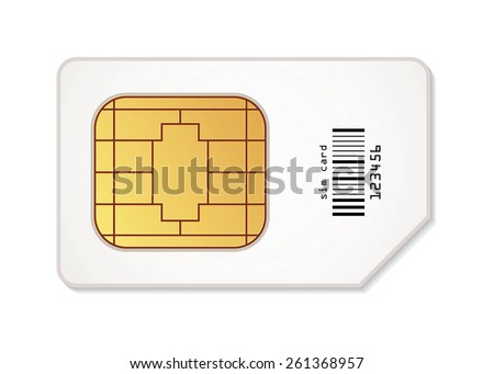 Sim card icon. Vector illustration. Conceptual illustration. Isolated on white background - stock vector