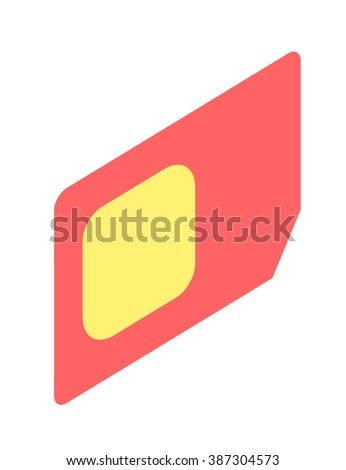SIM card isometric vector illustration. SIM card isometric isolated on white background. SIM card isometric vector icon illustration. SIM card isometric isolated vector. SIM card isometric silhouette - stock vector