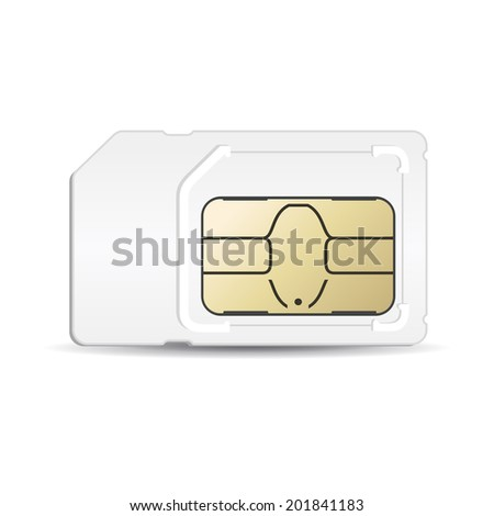 Sim card mobile silhouette in vector format - stock vector
