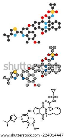 Simeprevir hepatitis C virus (HCV) drug molecule. Stylized 2D rendering and conventional skeletal formula. - stock vector