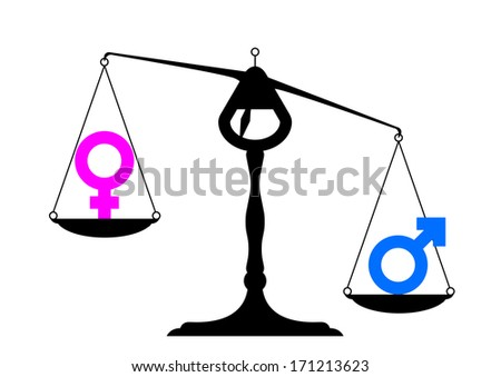 simpe illustration of a balance with icons for man and woman on equal ground preferring the man's site, symbol for gender equality, eps10 vector - stock vector