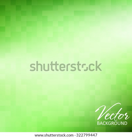 Simple abstract green background with gradient mesh textured by squares. Vector graphic pattern - stock vector