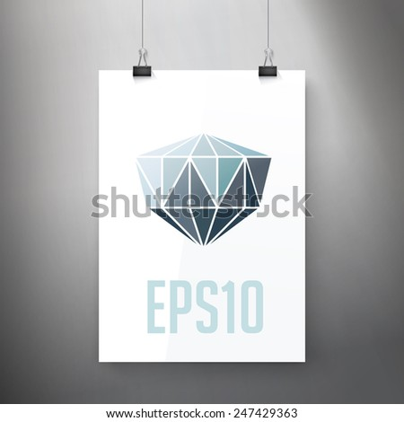 Simple Adjustable Composition of an Abstract Diamond Illustration on an A4 Paper Sheet Mock Up - stock vector