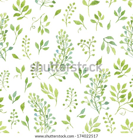 Simple and cute floral seamless pattern. Spring branches and leaves. Vectorized watercolor drawing. - stock vector
