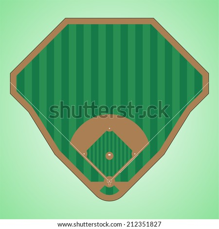 simple and easy to modify vector image of a baseball field - stock vector