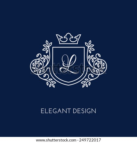 Simple and elegant monogram design template with letter L and crown. Vector illustration. - stock vector