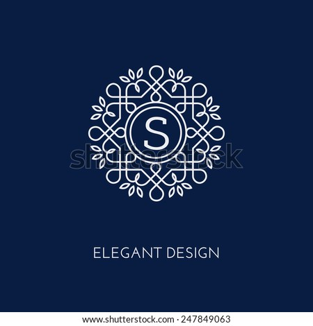 Simple and elegant monogram design template with letter S. Vector illustration. - stock vector