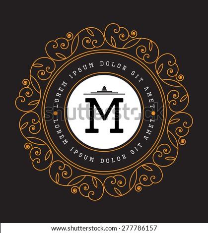 Simple and graceful floral monogram design template, Elegant lineart logo design, vector illustration. Luxury elegant frame ornament line. Good for Royal sign, Restaurant, Boutique, Cafe, Hotel.  - stock vector
