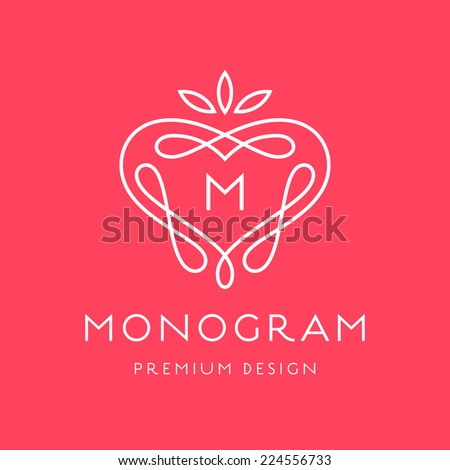 Simple and graceful monogram design template, Elegant lineart logo design, vector illustration - stock vector