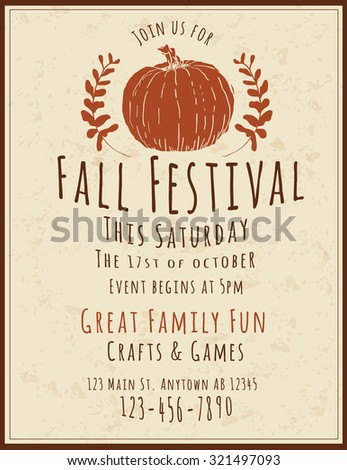 Simple and retro hand drawn Fall Festival Flyer - stock vector