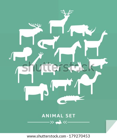 Simple animals set - stock vector