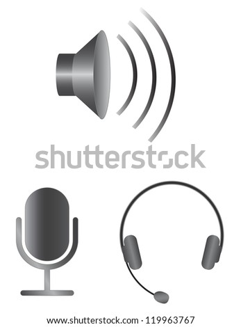Simple audio vector icons - stock vector