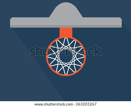 Simple Basketball basket and net vector illustration. View from above - stock vector