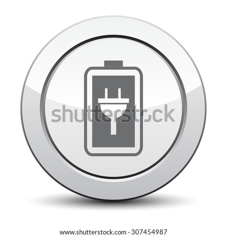 Simple battery icon. Battery charge icon. silver button. - stock vector
