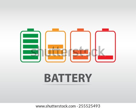 Simple battery icon with colorful charge level. - stock vector