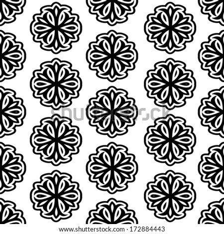 Simple black and white background, sample wrapping paper, seamless pattern, ornamental vector wallpaper, floral swatch fabric for decoration and design - stock vector