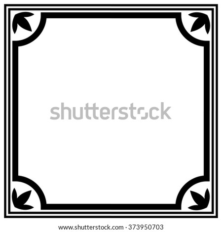 Simple black and white border vector template. - stock vector