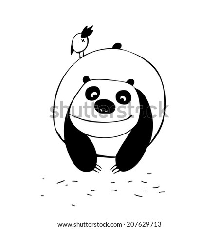 Simple black and white isolated illustration. Panda and little bird.  - stock vector