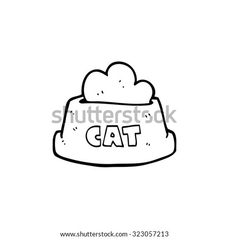 simple black and white line drawing cartoon cat food - stock vector